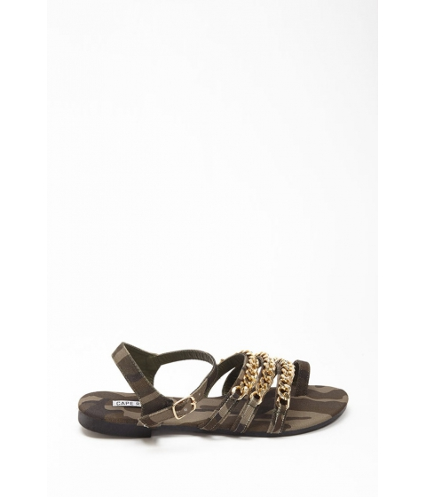 Incaltaminte Femei Forever21 Camo Chain Link Toe Sandals OLIVE