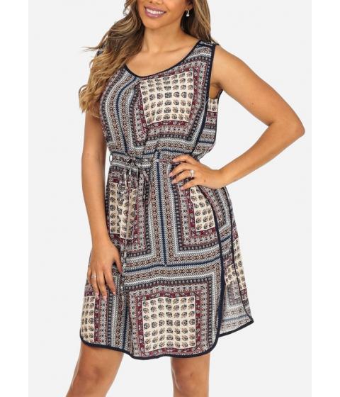 Imbracaminte Femei CheapChic Blue Sleeveless Printed Side Slits Lightweight Above Knee Dress Multicolor