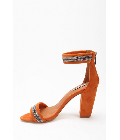 Incaltaminte Femei Forever21 Bead Chain Faux Suede Heels ORANGE