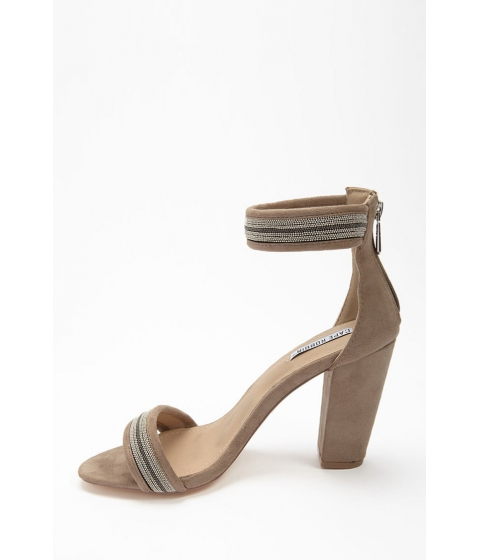 Incaltaminte Femei Forever21 Bead Chain Faux Suede Heels NUDE