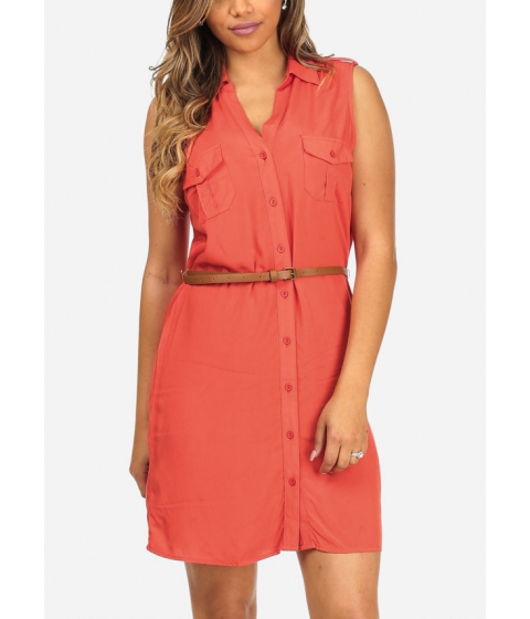 Imbracaminte Femei CheapChic Lightweight Button Up Coral Sleeveless 2-Pocket Dress w Belt Included Multicolor