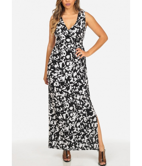 Imbracaminte Femei CheapChic Black and White Printed Sleeveless Wrap Front Side Slits Maxi Dress Multicolor