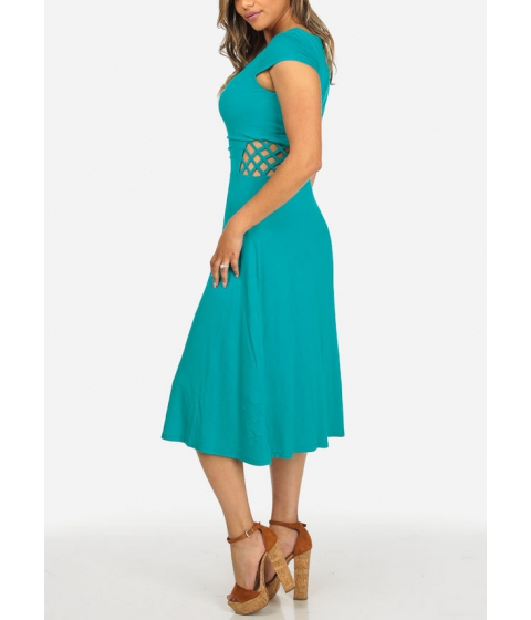 Imbracaminte Femei CheapChic Turquoise Cap Sleeve V-Neck Crisscross Waist Stretchy Midi Dress Multicolor