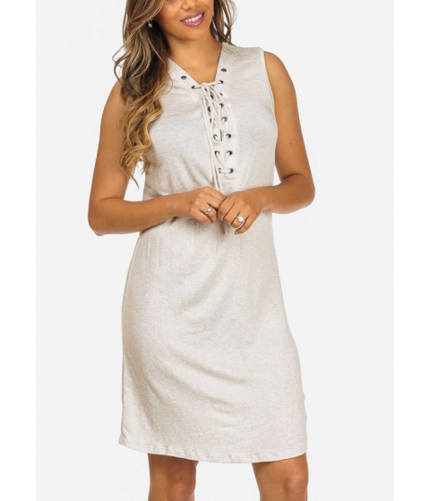Imbracaminte Femei CheapChic Stylish Sleeveless Lace Up Neckline Stretchy Beige Above Knee Dress Multicolor