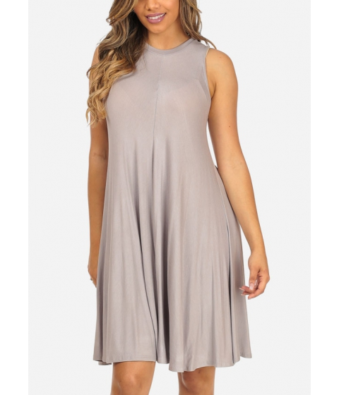 Imbracaminte Femei CheapChic Solid Grey Sleeveless Stretchy High Neckline Cute Above Knee Dress Multicolor