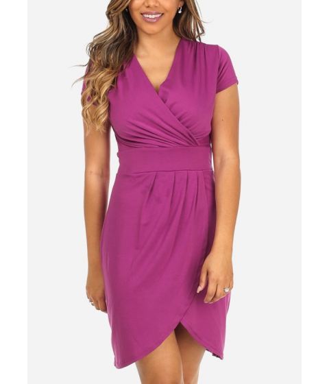 Imbracaminte Femei CheapChic Fuchsia Cap Sleeve Wrap Front V-Neck Surplice Above Knee Dress Multicolor
