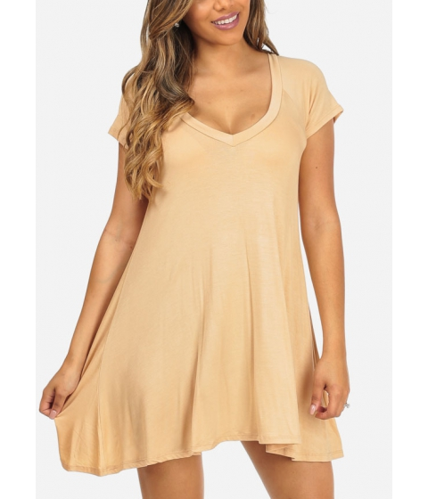 Imbracaminte Femei CheapChic Trendy Short Sleeve Stretchy V-Neck Taupe Slip On Above Knee Dress Multicolor