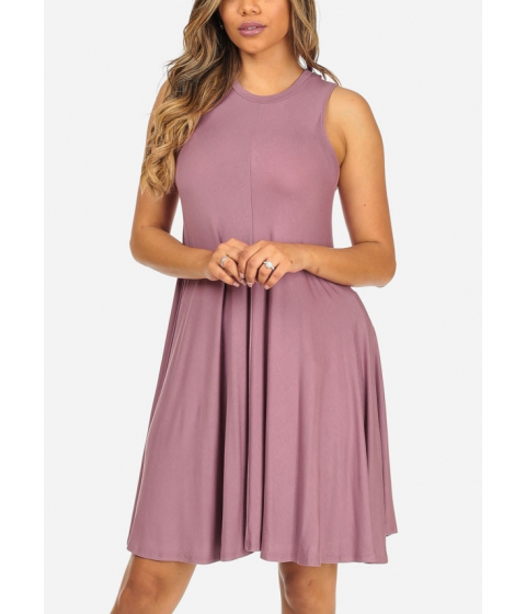 Imbracaminte Femei CheapChic Solid Mauve Sleeveless Stretchy High Neck Cute Above Knee Dress Multicolor
