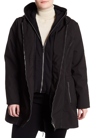 Imbracaminte Femei French Connection Full Zip Hooded Rain Coat Plus Size BLACK