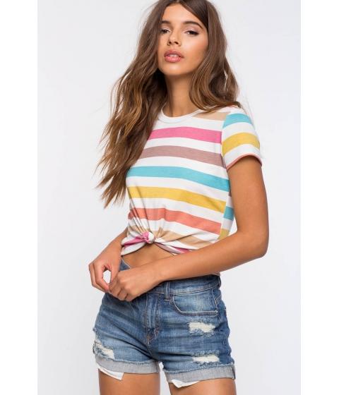 Imbracaminte Femei CheapChic Multi Stripe Knot Tee FuchsiaPink Pattern