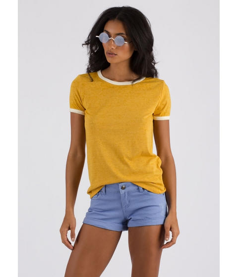 Imbracaminte Femei CheapChic Cool And Casual Heathered Ringer Tee Mustard