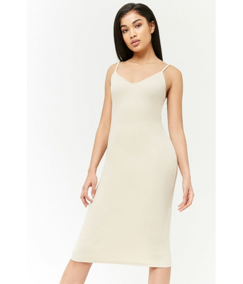 Imbracaminte Femei Forever21 Ribbed V-Neck Midi Dress TAN
