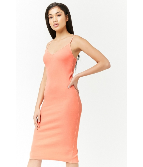 Imbracaminte Femei Forever21 Ribbed V-Neck Midi Dress LIGHT ORANGE