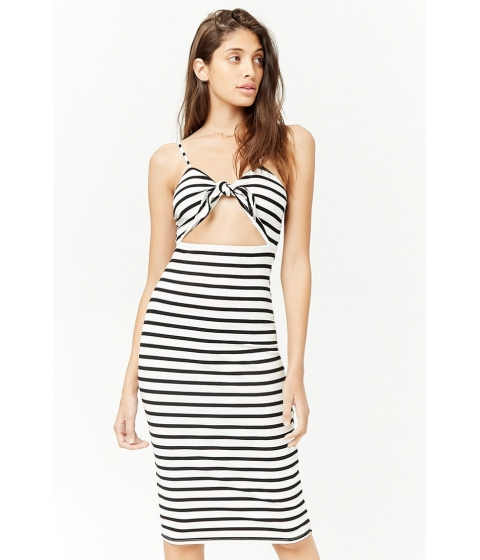 Imbracaminte Femei Forever21 Striped Tie-Front Midi Dress WHITEBLACK