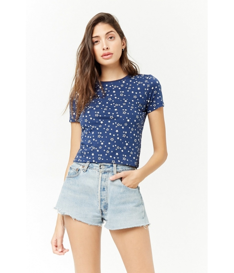 Imbracaminte Femei Forever21 Ditsy Star Graphic Tee BLUEWHITE