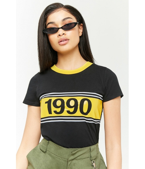 Imbracaminte Femei Forever21 Contrast 1990 Graphic Tee BLACKYELLOW