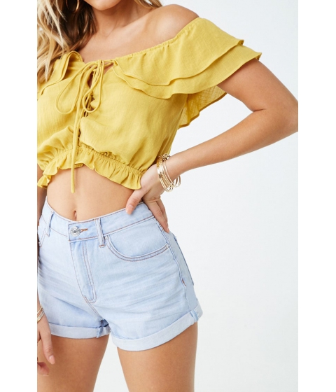 Imbracaminte Femei Forever21 Cuffed Denim Shorts LIGHT DENIM