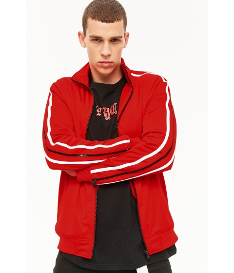 Imbracaminte Barbati Forever21 Rebel Minds Zip Sleeve Jacket RED