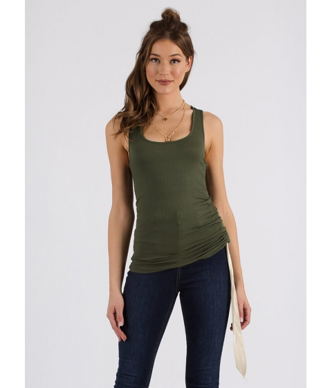 Imbracaminte Femei CheapChic Rest A-shirred Rib Knit Tank Top Olive