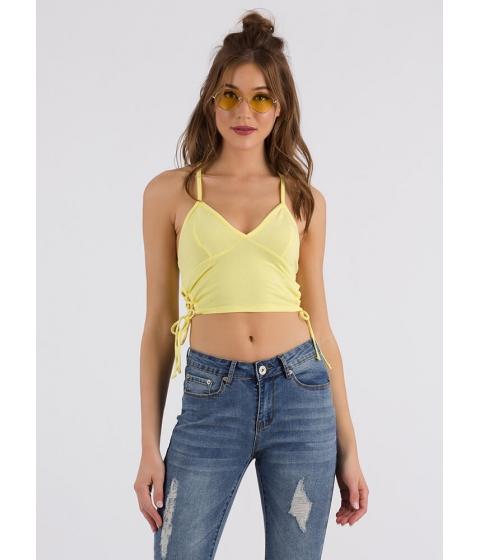 Imbracaminte Femei CheapChic Taking Sides Lace-up Cropped Tank Lemonade