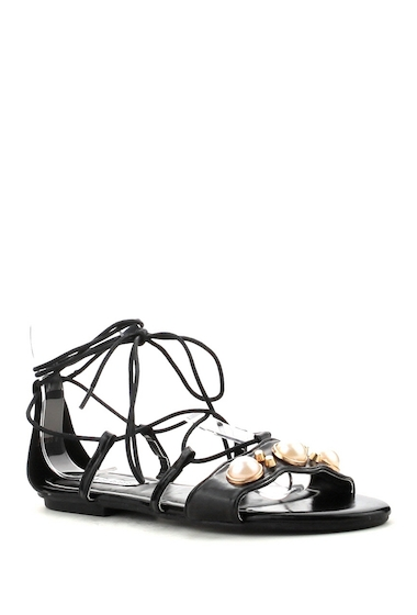 Incaltaminte Femei Cape Robbin Lella Faux Pearl Strappy Sandal BLACK