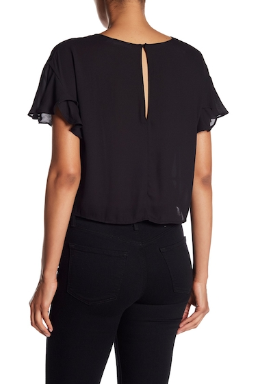 Imbracaminte Femei Lush Ruffle Sleeve Knotted Front Tee BLACK