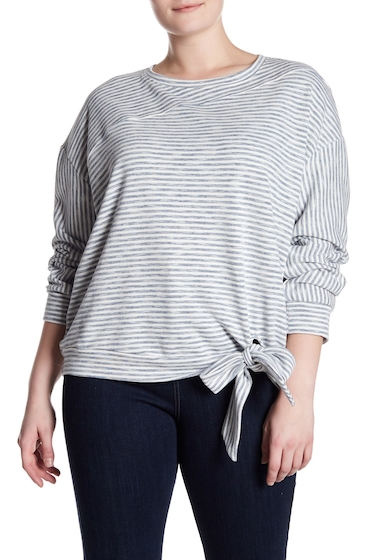 Imbracaminte Femei MELLODAY Knot Front Striped Fleece Sweatshirt Plus Size NAVYWHITE