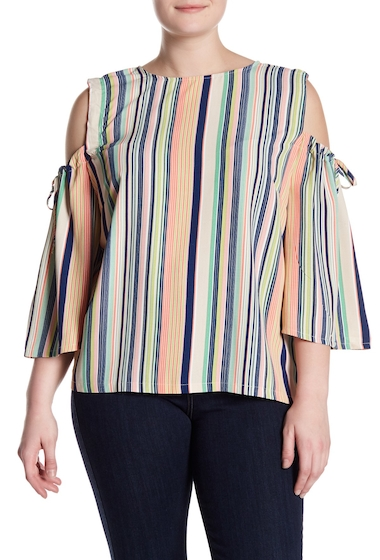 Imbracaminte Femei MELLODAY Cold Shoulder 34 Length Sleeve Top Plus Size MULTI