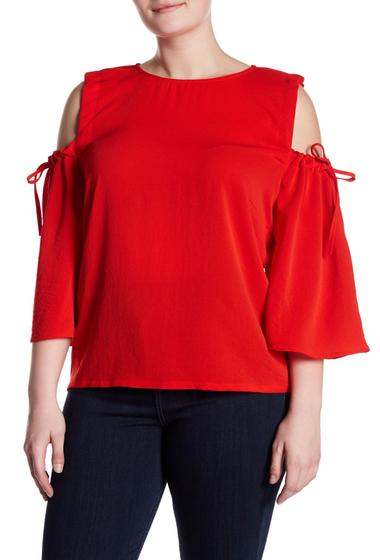 Imbracaminte Femei MELLODAY Cold Shoulder 34 Length Sleeve Top Plus Size RED