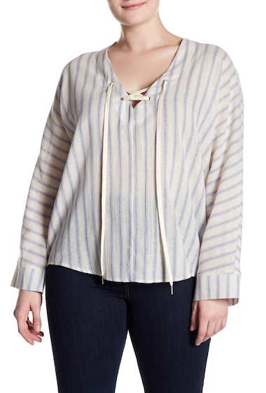 Imbracaminte Femei MELLODAY Lace-Up Front Stripe Print Woven Blouse Plus Size BLUECREAM
