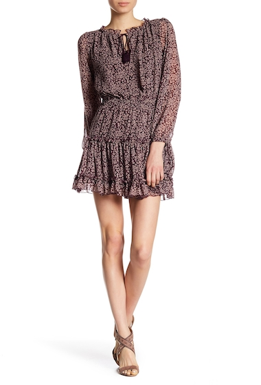 Imbracaminte Femei Rebecca Minkoff Rosemary Long Sleeve Tassel Dress POTENT PURPLE LEOPARD