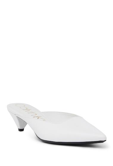 Incaltaminte Femei Calvin Klein Lanora Leather Kitten Mule PLATINUM WHITE