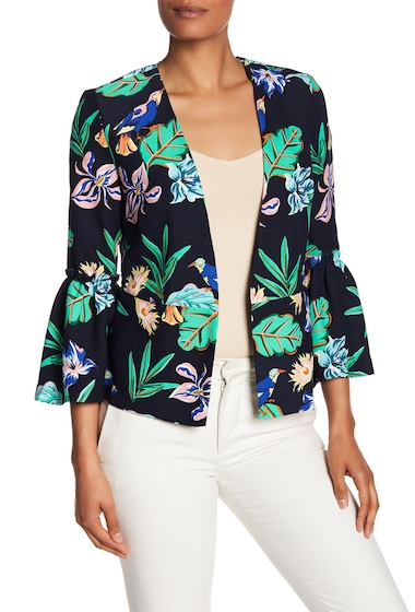 Imbracaminte Femei Philosophy Apparel 34 Length Bell Sleeve Peplum Blazer TROPICAL BIRD PRINT