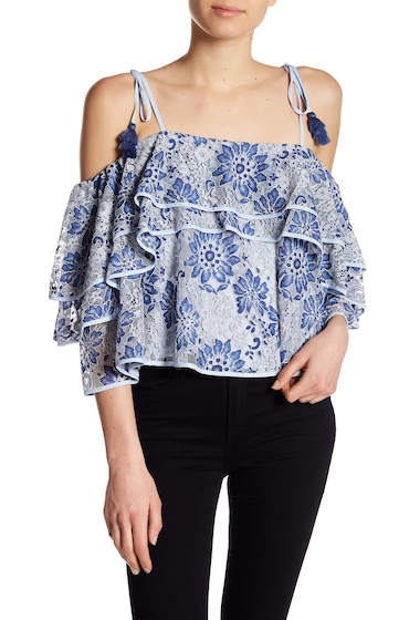Imbracaminte Femei Rebecca Minkoff Dena Cold-Shoulder Lace Blouse BLUE MULTI