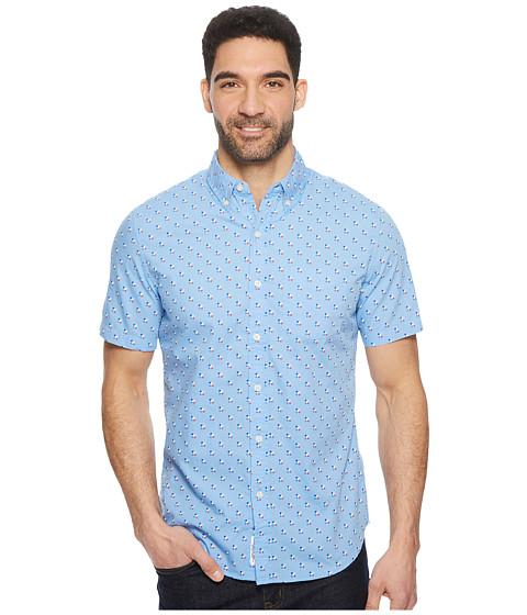 Imbracaminte Barbati US Polo Assn Short Sleeve Slim Fit Fancy Shirt Discharged Print Vista Blue