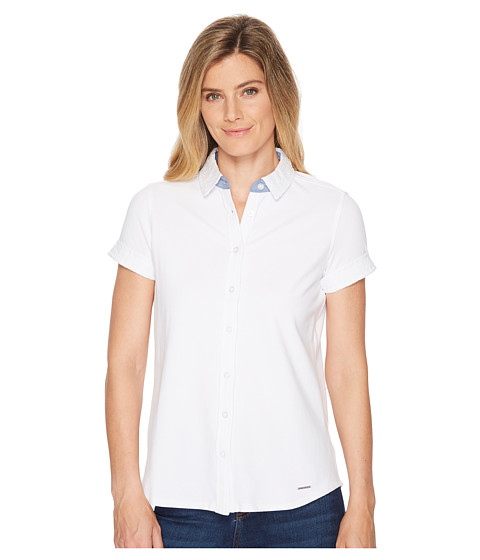 Imbracaminte Femei US Polo Assn Full Placket Short Sleeve Blouse Optic White