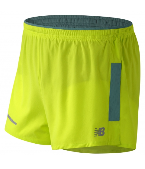 Imbracaminte Barbati New Balance Impact 3in Split Short Yellow with Blue