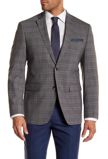 Imbracaminte Barbati Perry Ellis Grey Plaid Two Button Notch Lapel Modern Fit Jacket LT GREY PLAID W BLUE DECO