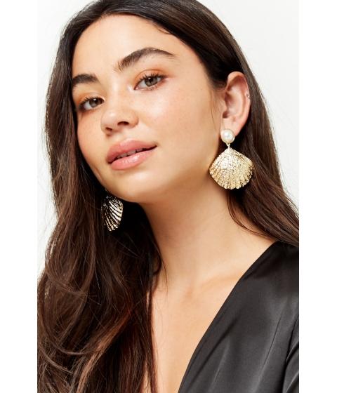 Bijuterii Femei Forever21 Faux Pearl Shell Drop Earrings GOLD