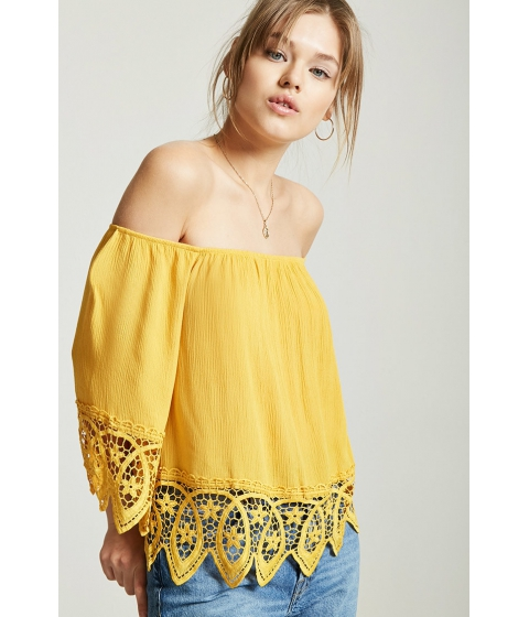 Imbracaminte Femei Forever21 Scallop Lace Off-the-Shoulder Top MUSTARD