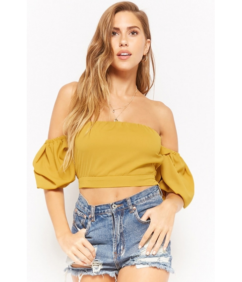 Imbracaminte Femei Forever21 Off-the-Shoulder Tie-Back Crop Top MUSTARD