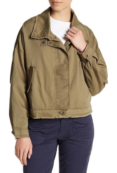 Imbracaminte Femei Melrose and Market Frayed Trim Utility Jacket Petite OLIVE BURNT