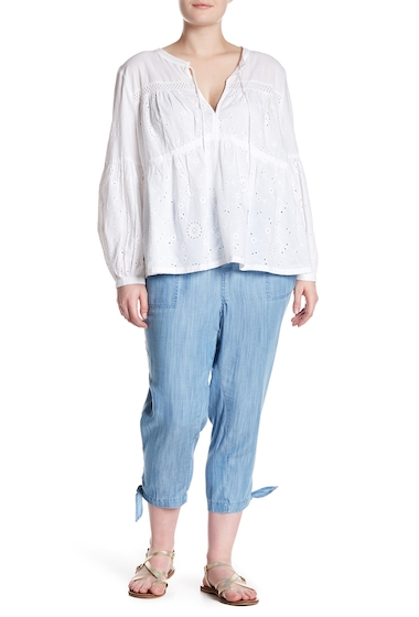 Imbracaminte Femei SUSINA Pull-On Ankle Tie Pants Plus Size MED BLUE WASH