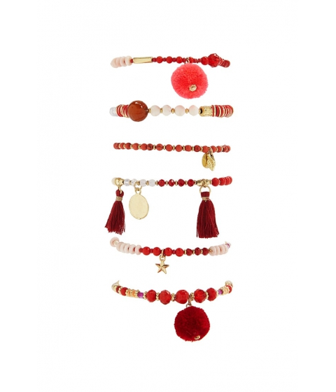 Bijuterii Femei Forever21 Beaded Charm Stretch Bracelet Set RED