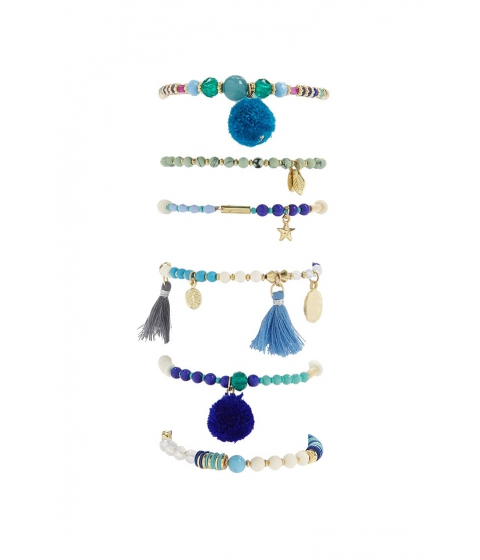 Bijuterii Femei Forever21 Beaded Charm Stretch Bracelet Set BLUE