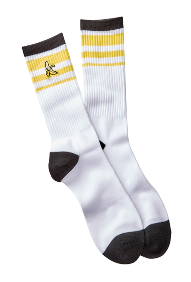 Accesorii Barbati Public Opinion Icon Crew Socks WHITE- YELLOW BANANA