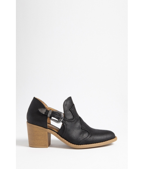 Incaltaminte Femei Forever21 Qupid Faux Leather Side Cutout Boots BLACK