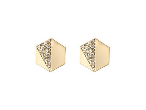 Bijuterii Femei Marc Jacobs Minimal Metal Gold and Pave Hexagon Stud Clip Earrings GoldCrystal