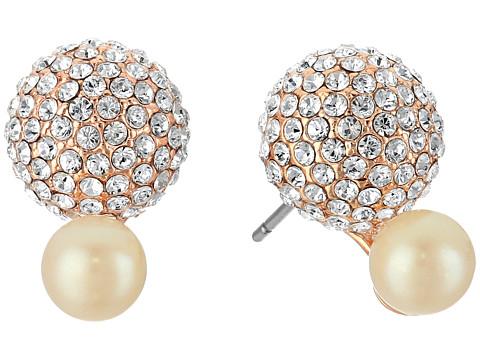 Bijuterii Femei Marc Jacobs Flying Colors Pave Double Bauble Stud Earrings Cream MultiRose Gold