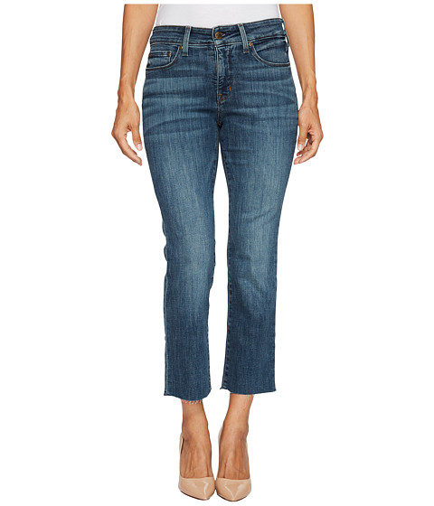 Imbracaminte Femei NYDJ Petite Marilyn Straight Ankle Jeans w Raw Hem in Crosshatch Denim in Desert Gold Desert Gold